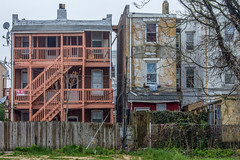 For Sale (roevin | Urban Capture) Tags: atlanticcity newjersey unitedstates us casino casinos street houses decay residential juxtaposition block haze yard door constructions housing neighboorhood electricity wires porch brick forsale steps