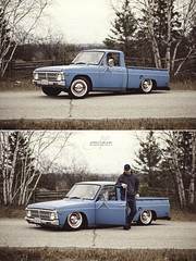 bagged ford courier | shoot (CrumpJ) Tags: show old ontario canada ford vintage fun cool nikon rust whitewalls dof photoshoot bokeh low small 14 85mm pickup manitoulin fullframe nikkor fx sparks courier 74 85 lowered minitruck bluetruck bagged farmtruck 85mm14d airbagged vintagetones oldfordpickup d700 layingframe 1974fordcourier droppedanddestroyed baggedfordcourier noshineaward