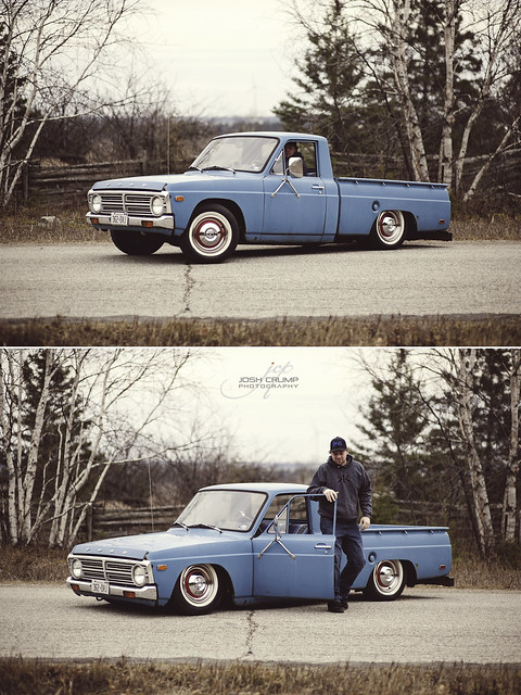 show old ontario canada ford vintage fun cool nikon rust whitewalls dof photoshoot bokeh low small 14 85mm pickup manitoulin fullframe nikkor fx sparks courier 74 85 lowered minitruck bluetruck bagged farmtruck 85mm14d airbagged vintagetones oldfordpickup d700 layingframe 1974fordcourier droppedanddestroyed baggedfordcourier noshineaward