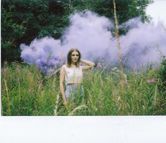 Blue Utopia (teacup_dreams) Tags: portrait film fashion polaroid fujifilm instax 210 smokebomb filmfilmforever