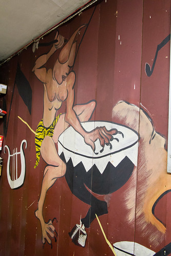 Part of the mural on the back of the stage