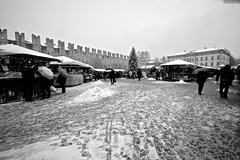 sotto la neve (Dr. Maus) Tags: italia grigio gente bn persone neve trento mura piazza natale bianco nero bianconero merli nevicata regali mercatini porfido ombrelli cubetti
