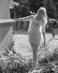 (sixbysixtasy) Tags: girls portrait film nature fashion model 6x7 virginsuicides nunheadcemetery adox pentax67ii chs50