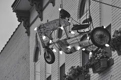 Gift of Self-Reliance (dlholt) Tags: christmas bw sign toy blackwhite iowa christmaslights ia christmasdecoration c9 toytractor westernflyer fairfieldia c9bulb