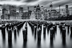 No photos after dusk (Diego Tabango) Tags: new york city nyc newyorkcity travel bw usa water brooklyn river outdoors blackwhite nikon long exposure cityscape outdoor dumbo diego 106 filter le nd nikkor pylons d4 2470mm tabango