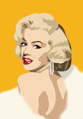 Marilyn (kraghk) Tags: red orange marilyn cartoon icon hollywood bl