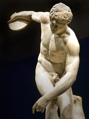 Diskobolos (discus thrower) 2nd century CE Roman copy of 450-440 BCE Greek bronze by Myron recovered from Emperor Hadrian's Villa in Tivoli Italy (mharrsch) Tags: sculpture male statue oregon nude portland greek roman athlete britishmuseum hadrian hadriansvilla myron discusthrower portlandartmuseum 2ndcenturyce 5thcenturybce bodybeautiful diskobolos mharrsch