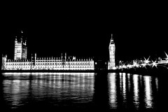 Houses of Parliament & Big Ben London - Blended & B/W (On Explore 31st Dec 2012) (Simon & His Camera) Tags: city bridge light urban bw black reflection building london water westminster thames architecture night contrast river dark parliament bigben explore blended iconic simonandhiscamera