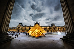The Glowing Louvre (Stuck in Customs) Tags: world city travel november urban sculpture paris france art history monument glass seine museum architecture clouds digital dark painting french island photography blog high warm europe ledefrance republic dynamic pyramid stuck state louvre ominous district fineart capital stormy tourist historic photoblog software processing western photowalk historical glowing imaging northern region range metropolitan hdr tutorial trey palaisdulouvre travelblog 2012 customs musedulouvre rpubliquefranaise ratcliff 1starrondissement rgionparisienne hdrtutorial stuckincustoms treyratcliff gra