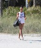 Nicole Minetti enjoys a day on the beach whilst on vacation