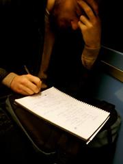 Le penseur 2013 (cathou_cathare) Tags: bear man paris france pen pencil underground subway hand main métro math barbe homme penseur stylo penser ecrire tothink towrite souslaterre