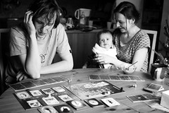 6/365 Sunday's boardgaming (I.Dostl) Tags: people blackandwhite bw woman baby white man black game men smile breakfast blackwhite feeding board sunday bn thinking cb boardgaming blackandwhiteonly