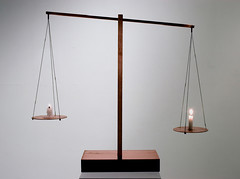 Untitled     Candle, Copper, Wire, Wood.     74 X 18 X 64 (cm)  29 X 7 X 25 (inch)