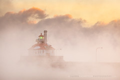 Canal Park South Pier 1-22-2013 (Shawn Thompson - Lake Superior Photographer) Tags: lighthouse cold ice minnesota clouds sunrise freezing steam mn duluth lakesuperior subzero canalpark
