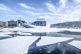 the opera floating among ice floes - Oslo, Norway