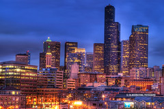 Seattle in Clear Sight (TIA International Photography) Tags: seattle county plaza city morning blue windows winter sky urban building tower station skyline skyscraper