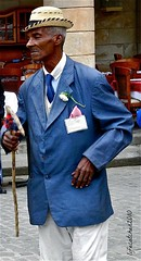 havana street dancer (lifecatcher2010) Tags: street blue man hat cane havana cuba dancer suit jacket