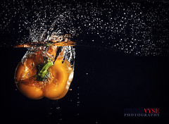pepper splash (Kevin Vyse Photography) Tags: lighting food orange ontario canada art water studio fun pepper photography interesting image creative picture vegetable drop fishtank commercial setup splash submerged 2013 kvphotography