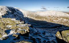 Helvellyn in February (joshmonk) Tags: uk winter shadow people snow mountains cold outdoors frozen nationalpark nikon rocks lakedistrict wideangle tokina ridge crisp valley cumbria fells mountaineering february tarn ultrawide lakeland f28 stridingedge helvellyn redtarn 1116 2013 atxpro 1116mm dxii d7000