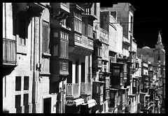 Valletta Street (albireo 2006) Tags: street valletta malta blackwhitephotos blackandwhite blackandwhitephotos blackwhite balconies bw