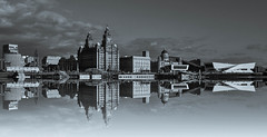 Liverpool Waterfront. (Amidared) Tags: liverpool waterfront pierhead liverbuilding bw blackandwhite cityscapes mirrored mersey merseyside scenery scenic panorama uk britain urban cities monochrome landscape famousskyline scouse liverpudlian river