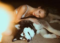 Jourdan & Kita (Mike Monaghan) Tags: mikemonaghan model mood husky dog fashion lingerie light bokeh glow moody
