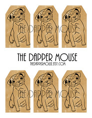 Pug Gift Tags Watermark (deniselynch2) Tags: printable vintage pug gift tags dog party instant download d lynch denise the dapper mouse etsy