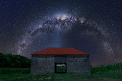 Milky Way over Best Farm (cosmoguy1) Tags: farm farmhouse barn field civil war blue green color purple magenta light pollution stars star milky way night sky trees cornfield red roof long exposure serge ramelli jimmy mcintyre