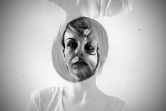 surrealism (i k o) Tags: surrealism surreal portrait bw blackandwhite girl model doubleexposure indoor experiment