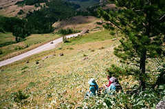 taking a breather (RubyT (I come here for cameraderie!)) Tags: steamboatrock wyoming greybullhwy mountains bighorns film analog fujisuperia800 pentaxiqzoom170 pentax justpentax pentaxlife bighornnationalforest