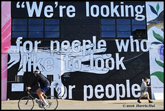 We Are Looking For People Who Like To Look For People - Vancouver Mural Festival N18102e (Harris Hui (in search of light)) Tags: harrishui nikond300 nikonuser nikon d300 vancouver richmond bc canada vancouverdslrshooter sigma1770mm vancouvermuralfestival mural