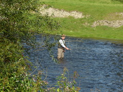 River Angler (Thomas Kelly 48) Tags: panasonic lumix fz150 wales northwales steamrailway llangollensteamrailway dee riverdee angler fisherman