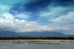The River (Sajeeb75) Tags: river outdoor sky hill water landscape black blue cloud white boat bangladesh