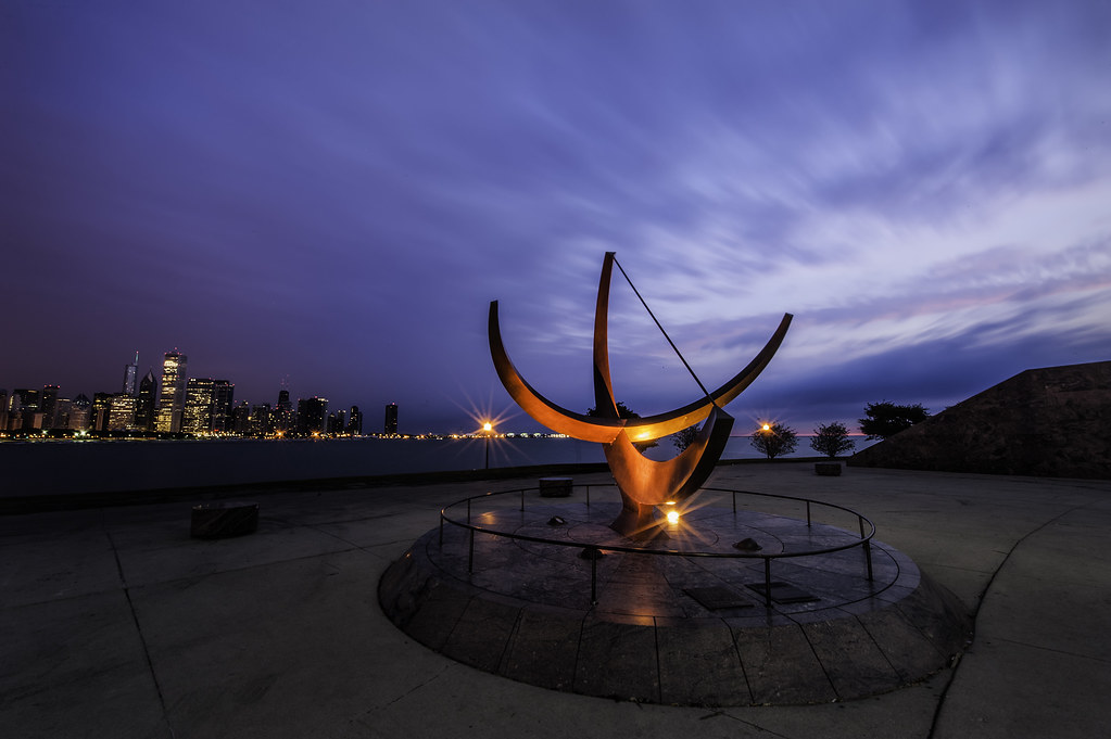 A long exposure of the sundial sculpture in from the Adler Planetarium.