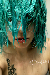 (Red 5 Photography) Tags: portrait woman selfportrait sexy green art wet hairdye beauty closeup tattoo fetish hair shower star model colorful punk artistic turquoise teal emo highcontrast scene lips piercing drip lipring pout mysterious rockabilly sultry concept mermaid bangs dripping alternative wethair pouting selfie nomakeup greenhair prettyface wetlook manicpanic 2011 startattoo altmodel drippingwet hiddeneyes turquoisehair womanwithwethair