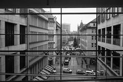 squares panorama (Bearbeitungstrupp) Tags: street bw building window rain metal architecture square geometry fenster hamburg architektur metall rectangle glas regen omd geometrie strase rechteck lumixg20f17