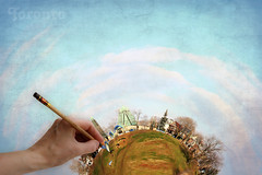 Byzantine Side of Toronto Planet. Paragliding Fun in Mid December (Katrin Ray) Tags: blue trees homes winter light sky brown toronto ontario canada green grass clouds photoshop canon painting eos december hand brush textur