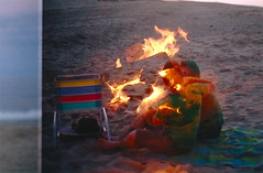 (Lux N0va) Tags: ocean love film beach fire lomography sand kiss lofi campfire relationship bonfire grainy doubleexposed colorfilm