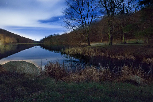 Sharp Top Reflection in Abott Lake at Night