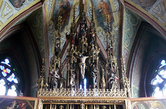 Michael Pacher, Sankt Wolfgang Altarpiece, Gothic Tracery and Figures including The Crucifixion