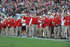 Wisconsin interim coach Barry Alvarez works the sideline during the first half of the 2013 Rose Bowl football game between the University of Wisconsin-Madison Badgers and the Stanford University Cardinal at the Rose Bowl Stadium in Pasadena, Calif., on Ja