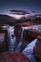Triple Twilight (Alex Noriega.) Tags: morning moon night stars dawn waterfall nationalpark twilight nikon glacier redrock loganpass triplefalls alexnoriega nikkor1224mmf4 d7000