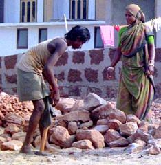 Construction work (bokage) Tags: woman india man construction worker orissa puri