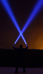X factor   (Explore) (Kriegaffe 9) Tags: sky silhouette fog x led beam explore torch laser xfactor lenser x7r