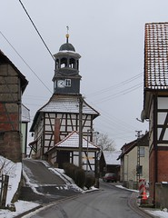Thuringian village with high-tech in the air! (:Linda:) Tags: schnee snow germany village thuringia powerline powerpole halftimbered fachwerk ehrenberg curvystreet slateshingled publicbakery