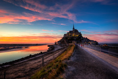 (dawvon) Tags: world ocean city travel sunset sea sky cloud france castle nature architecture reflections landscape ed twilight nikon europe cityscape zoom wideangle unescoworldheritagesite unesco worldheritagesite mount unitednations normandie lowtide stmichel nikkor normandy  f4 hdr highdynamicrange vr afs causeway montstmichel montsaintmichel lenses historicalbuilding zoomlens  f4g unitednationseducationalscientificandculturalorganization 1635mm chausse bassenormandie  fmount vibrationreduction vr2 vrii  wideanglezoom lowernormandy abbayedumontsaintmichel abbeyofmontsaintmichel nanocrystalcoat afsnikkor1635mmf4gedvr 1635mmf4gvr
