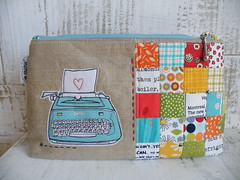 Pretty Little Pouch Swap - front (monaw2008) Tags: typewriter handmade fabric purse swap pouch zipper patchwork applique monaw monaw2008