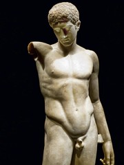 Closeup of Sculpture of a victorious athlete 1st century CE Roman period after lost 430 BCE original by Polykleitos (mharrsch) Tags: athlete youth nude male victory sports sculpture statue roman 1stcenturyce greek polykleitos 5thcenturybce bodybeautiful britishmuseum portlandartmuseum portland oregon mharrsch