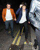 Harry Styles out celebrating his 19th Birthday at La Bodega Negra with James Corden and Nick Grimshaw before heading for the Groucho Club. WENN.com