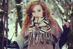 (Marschie) Tags: winter snow cold tree nature girl beautiful fashion forest hair snowflakes clothing eyes woods pretty seasons curls redhead clothes curly stunning scarve marschie